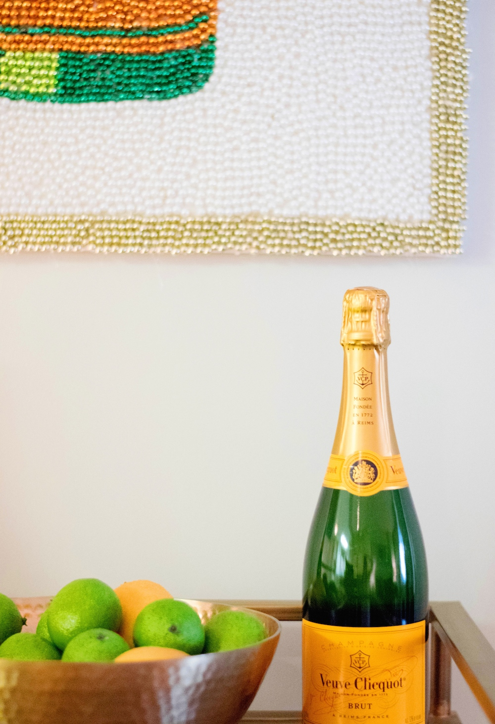 DIY Mardi Gras Bead Champagne Art