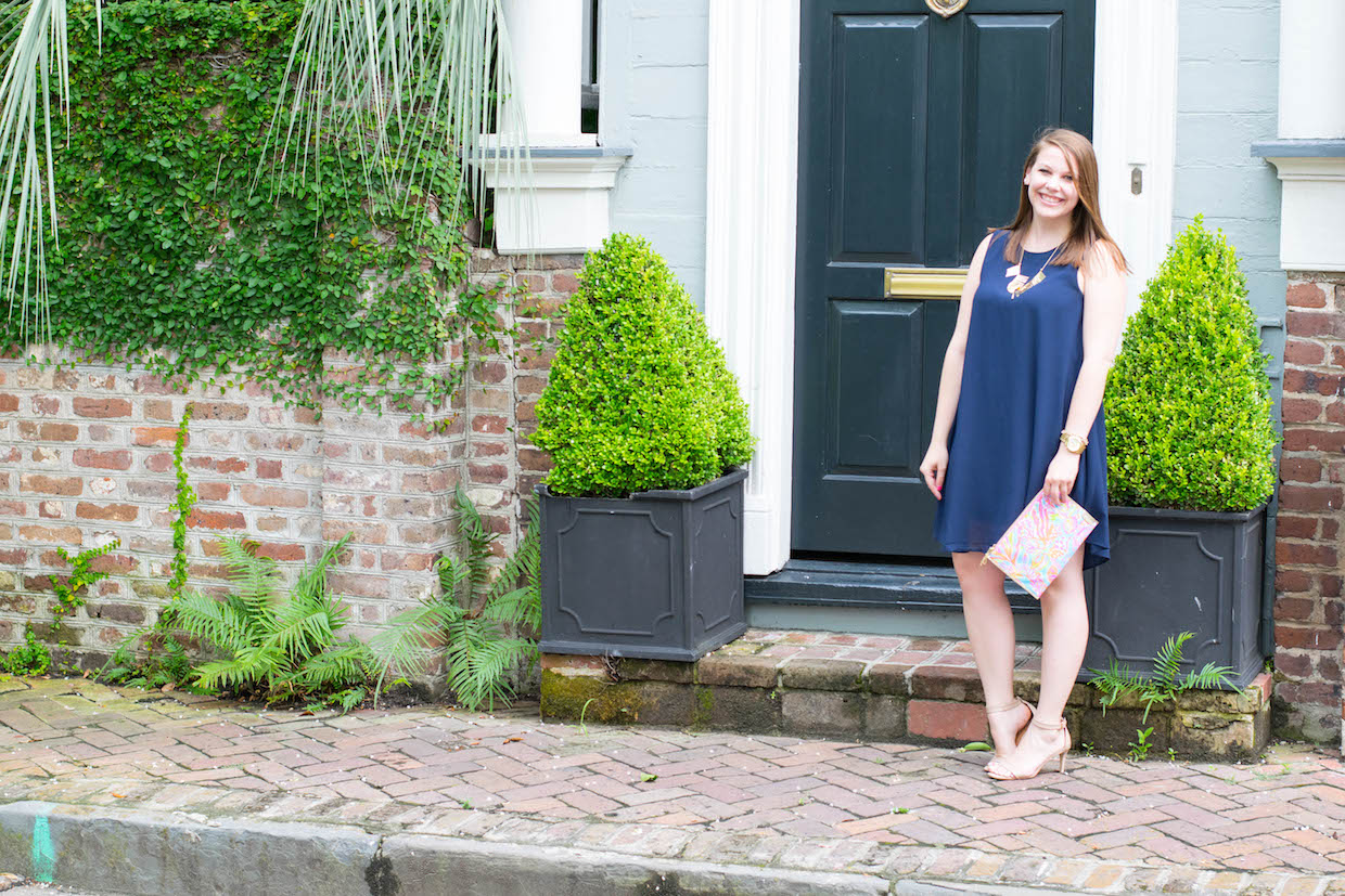 a touch of teal classic navy shift dress