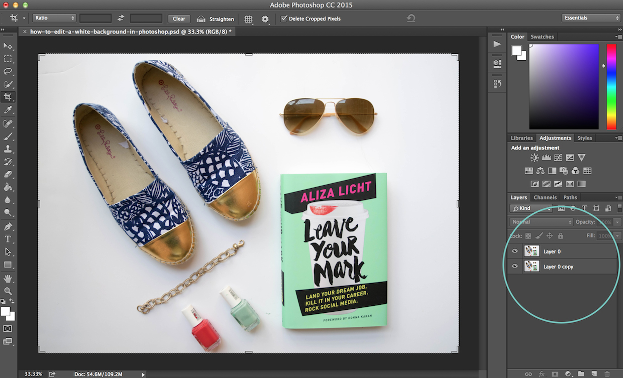 how to edit a white background in photoshop