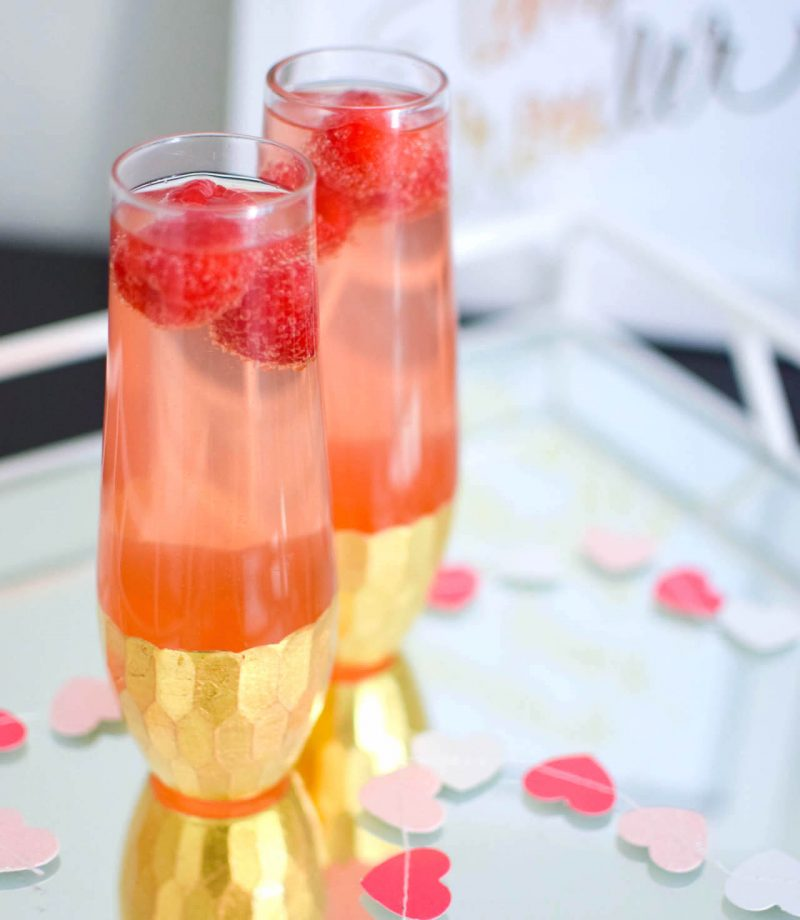 strawberry raspberry champagne cocktail
