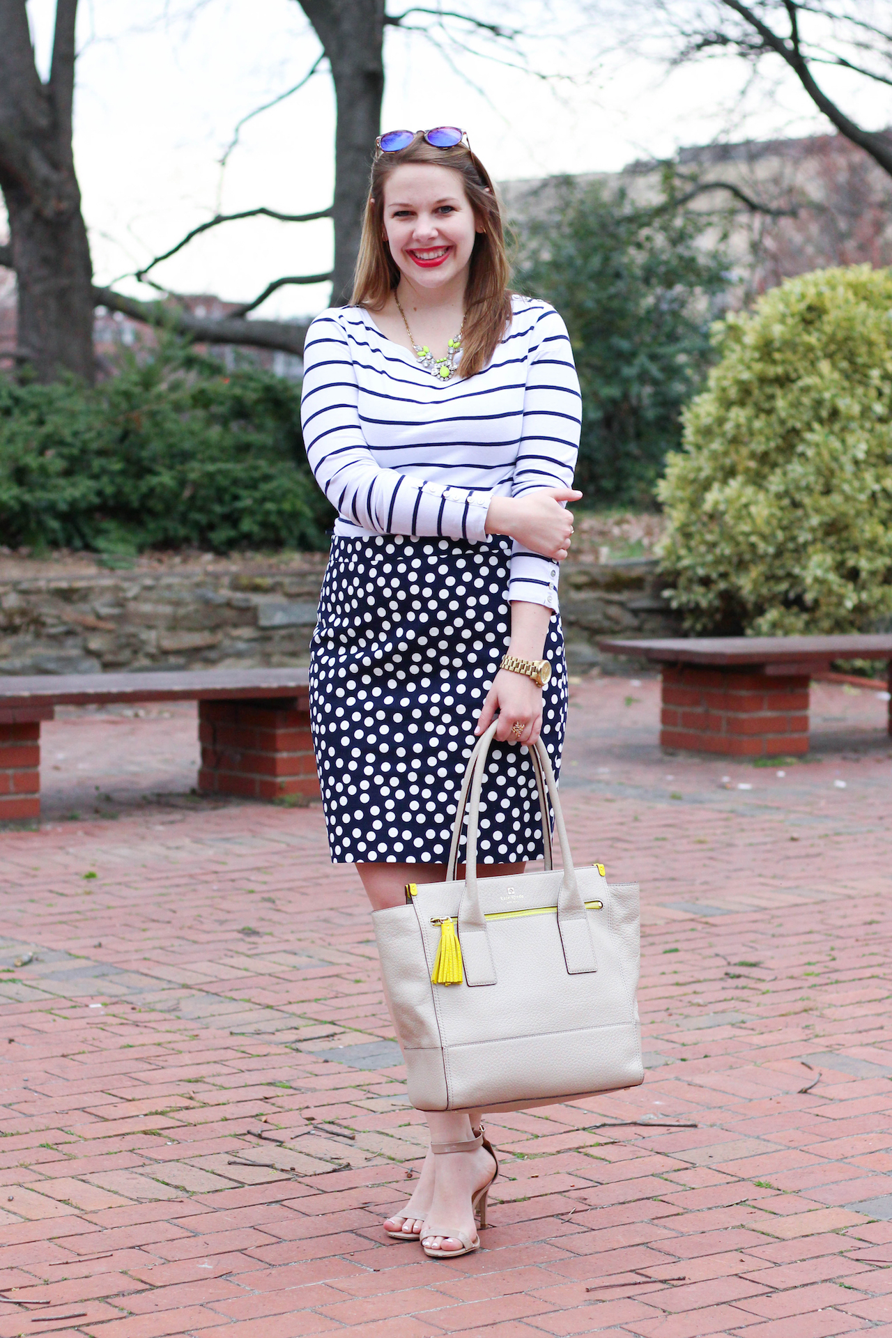 how to mix polka dots and stripes