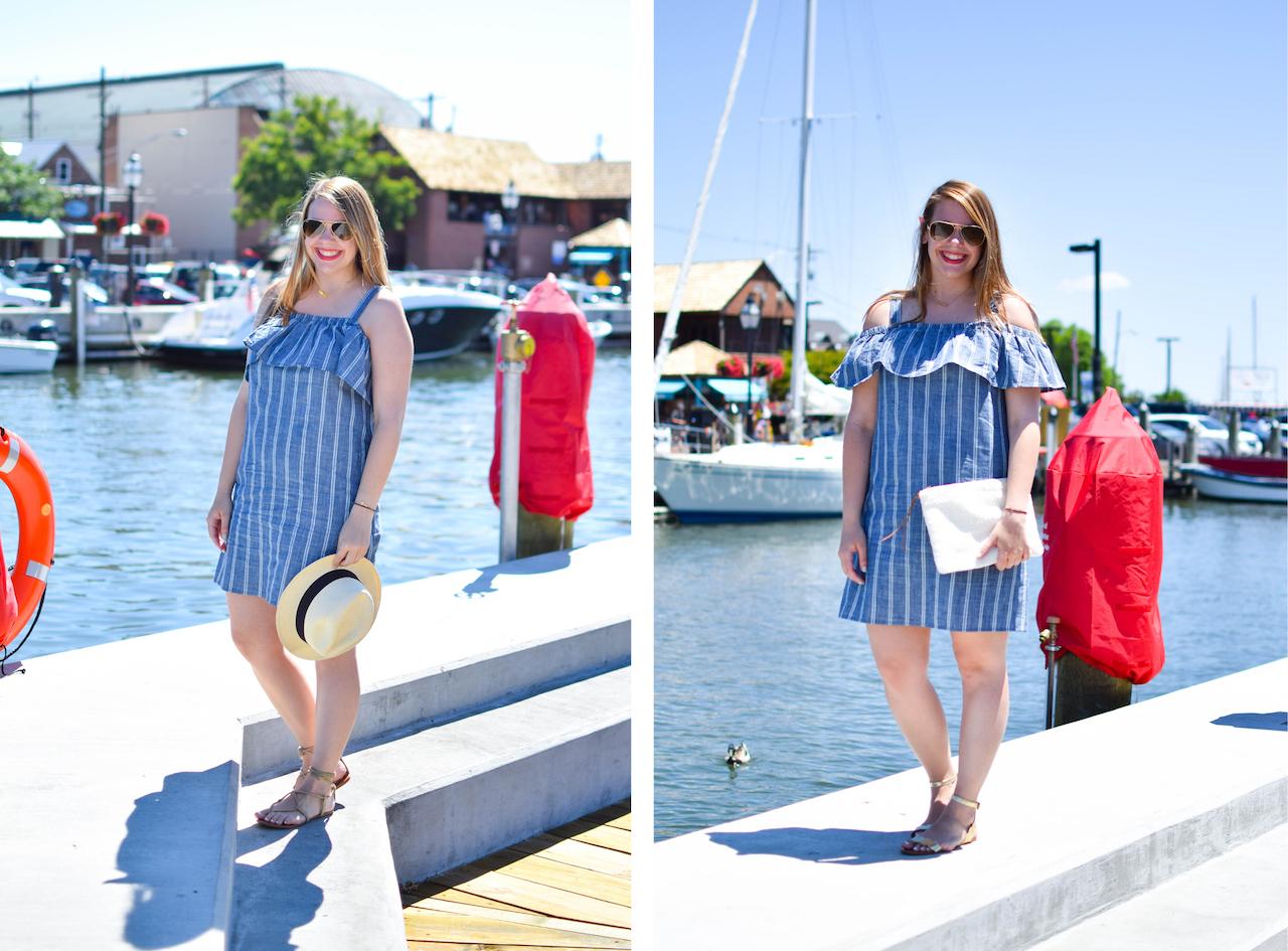 j crew factory striped chambray ruffle neck dress
