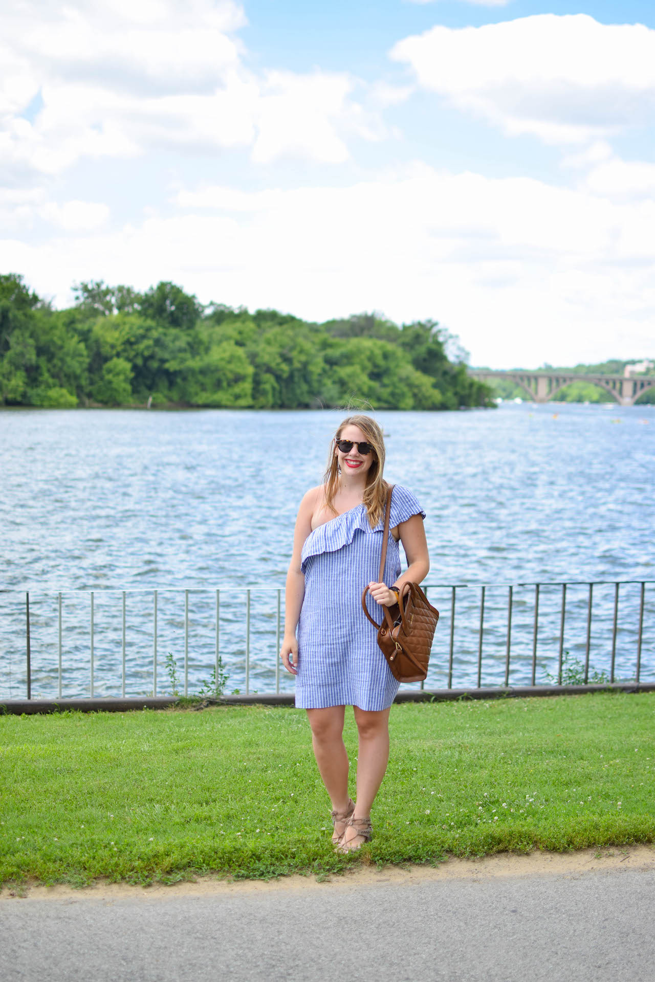 madewell striped one-shoulder dress