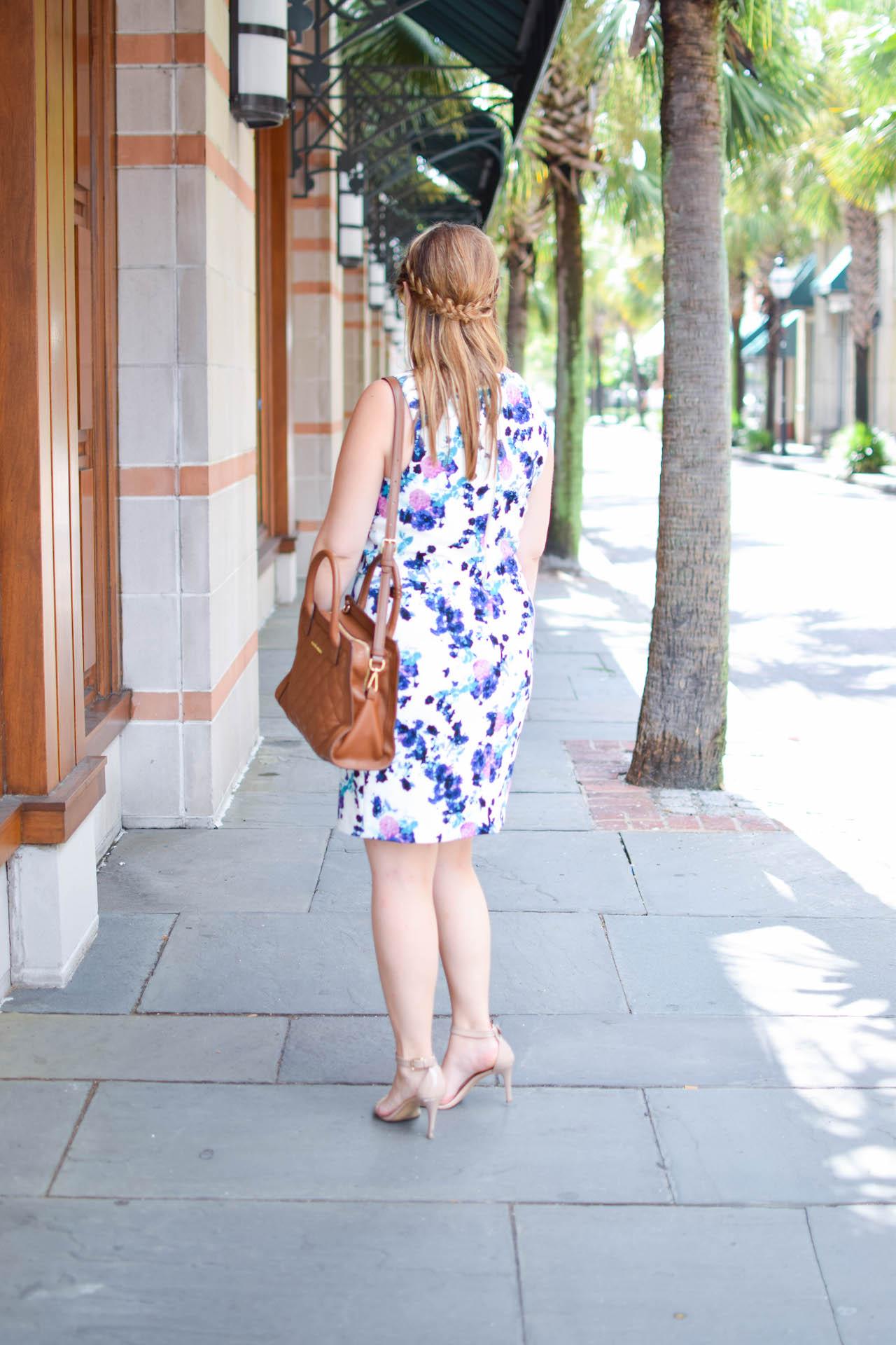 ivanka trump floral print popover sheath dress