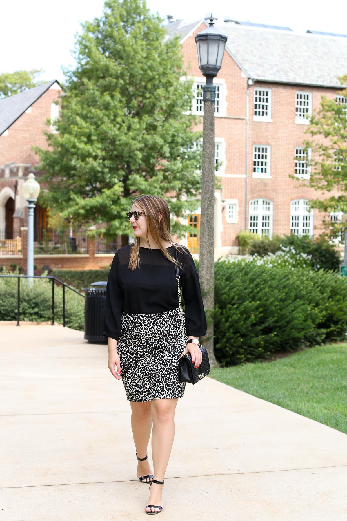 j crew leopard pencil skirt for work