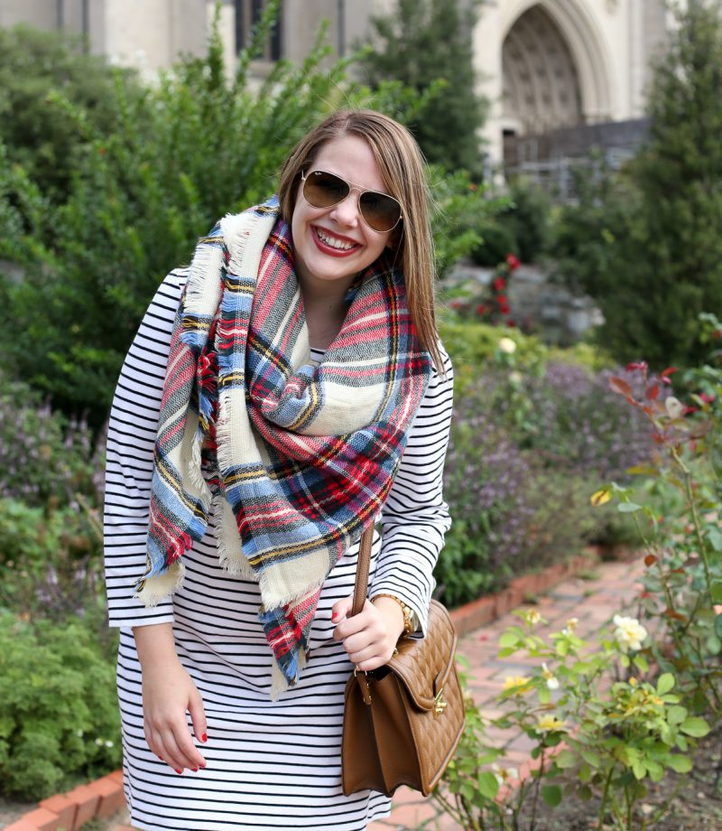 blanket scarf and striped dress