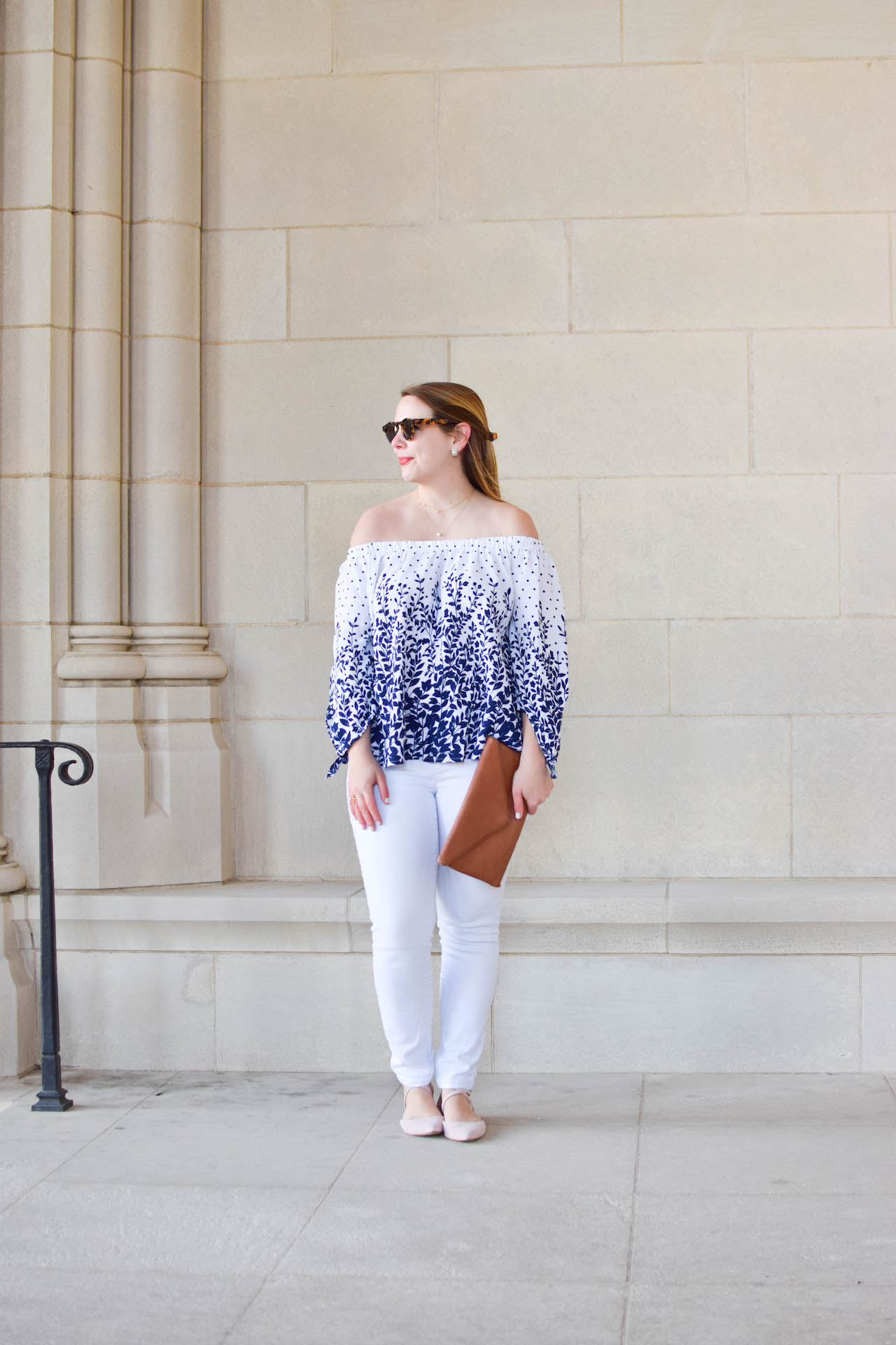 off the shoulder top outfit idea for spring