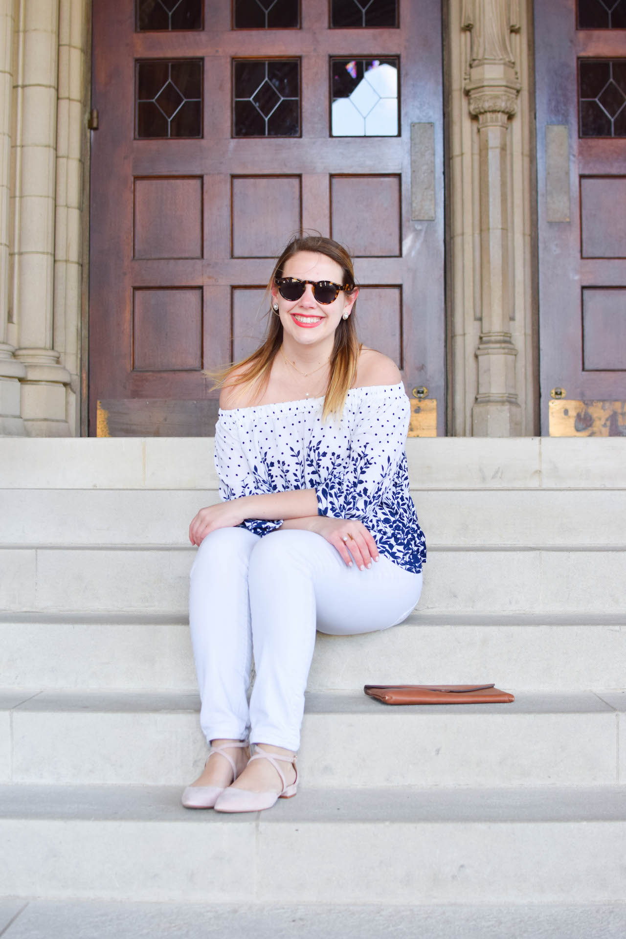 off shoulder top outfit idea for spring