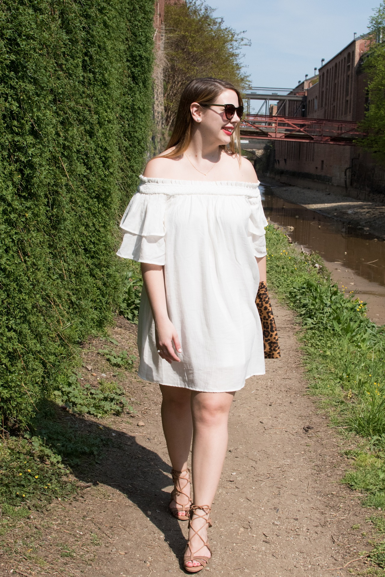 TOBI off shoulder shift dress