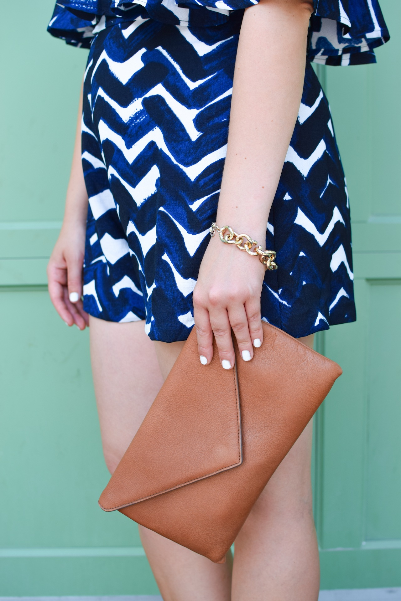 blue and white stripe romper