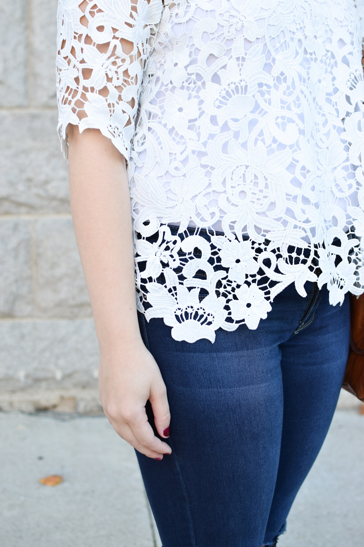 white lace top and jeans