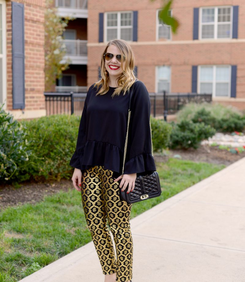 black and gold jacquard old navy pants