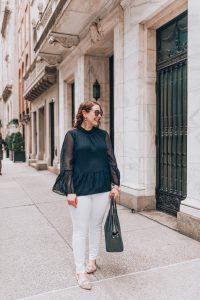 loft bell sleeve peplum blouse