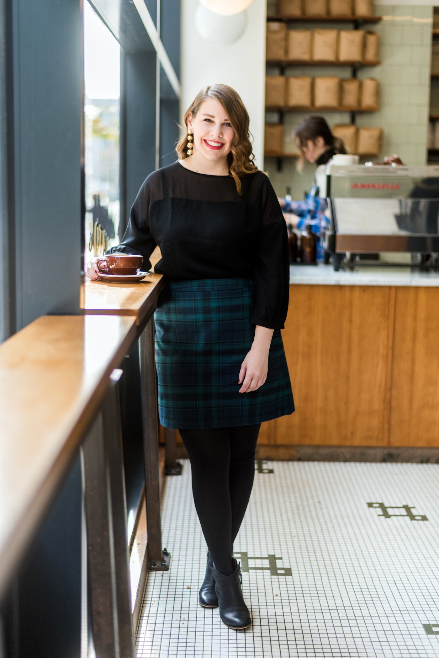 loft plaid holiday skirt for work