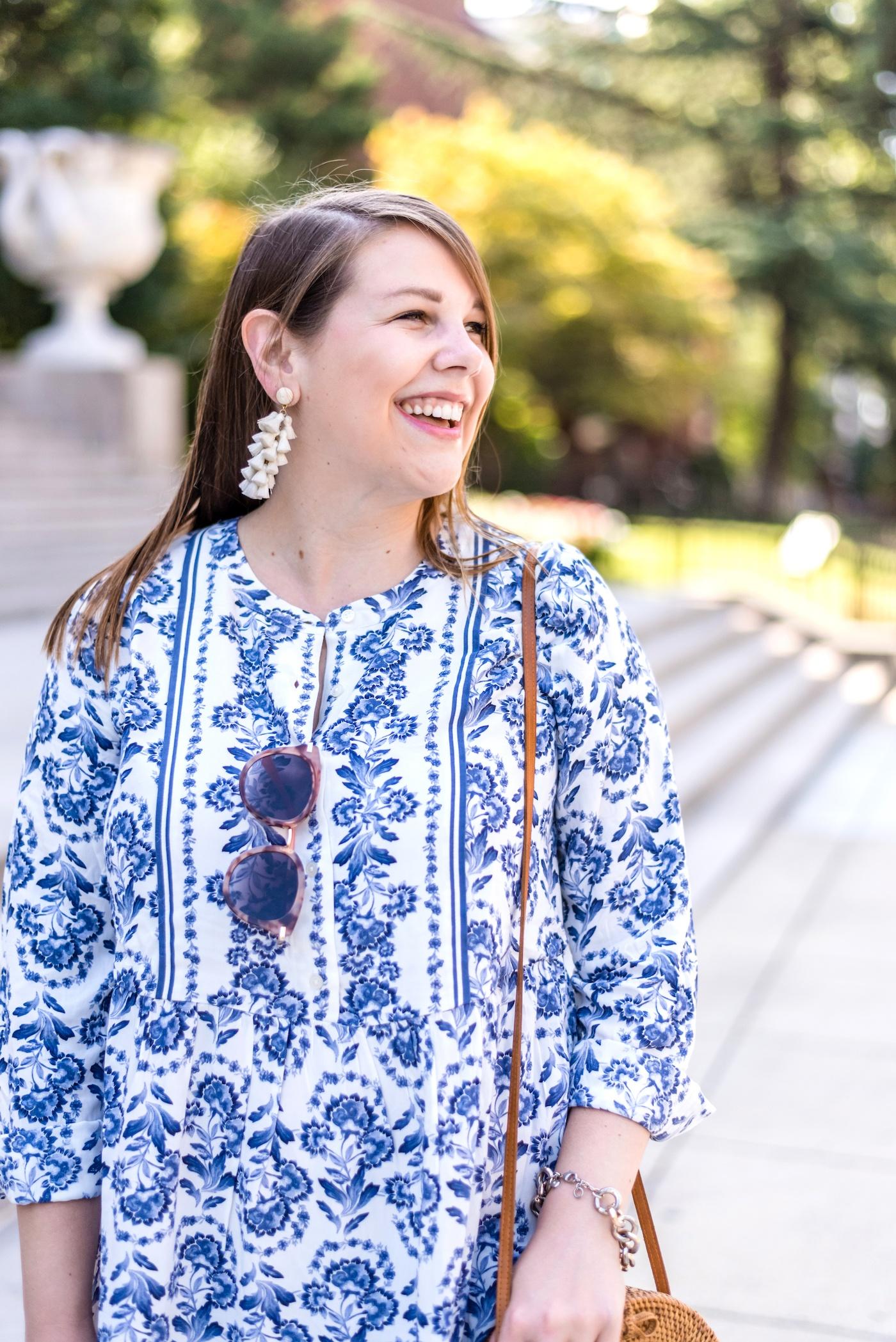 loft floral flare shirtdress