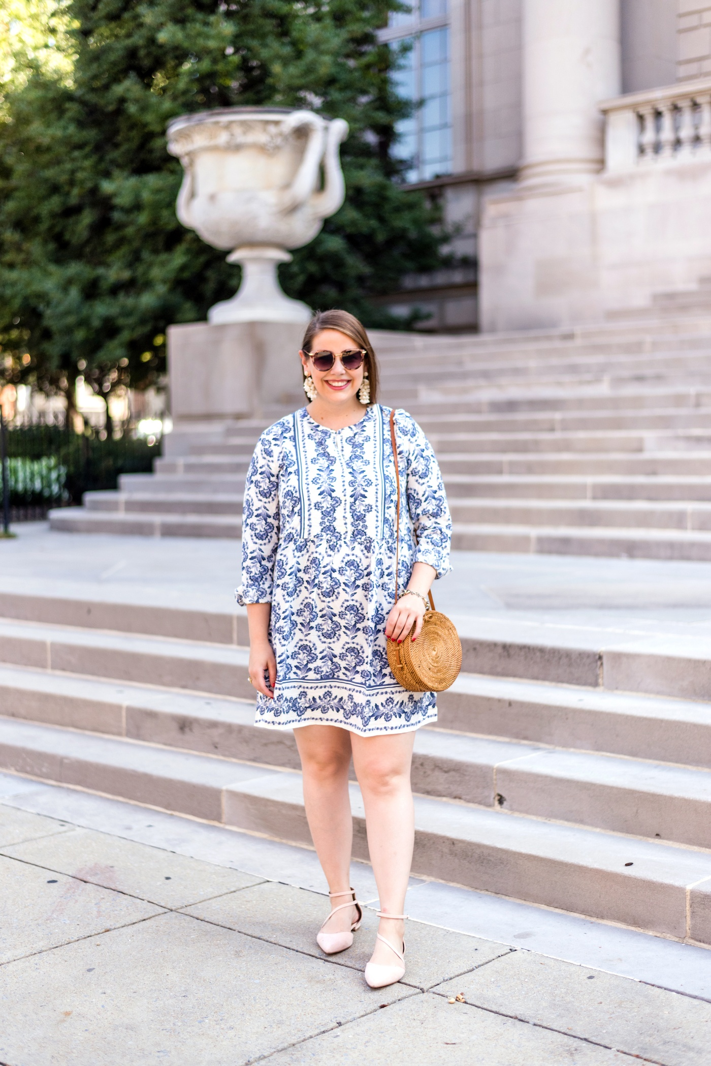 loft floral flare shirtdress